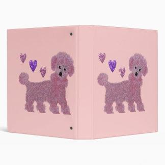Pink Poodle Hearts Binder