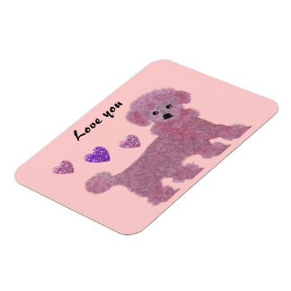 Pink Poodle Hearts Love You Premium Magnets