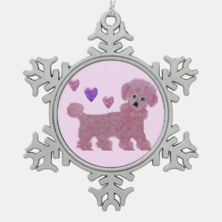 Pink Poodle Hearts Ornament
