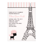 Pink Poodle in Paris Birthday Personalized Invitations