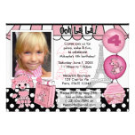 Pink Poodle in Paris Birthday Invitation