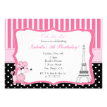 Pink Poodle in Paris Birthday Party Invitation