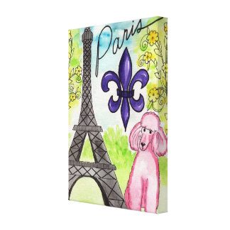 Pink Poodle in Paris Gallery Wrap Canvas