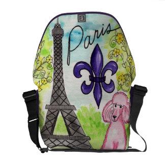 Pink Poodle in Paris Courier Bag