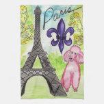 Pink Poodle in Paris Hand Towels