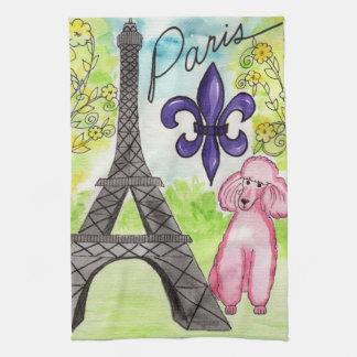 Pink Poodle in Paris Kitchen Towels