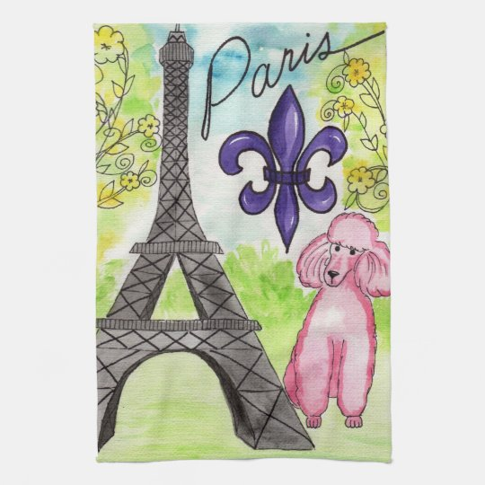 Pink Poodle in Paris Kitchen Towel