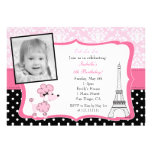 Pink Poodle in Paris Photo Birthday Invitation