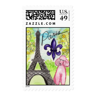 Pink Poodle in Paris Stamps