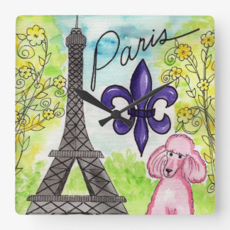 Pink Poodle in Paris Square Wall Clock
