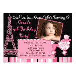 Pink Poodle in Paris Themed Invitation