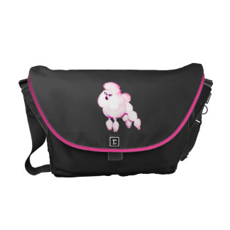 Pink Poodle in Pixie Glasses Messenger Laptop Bag