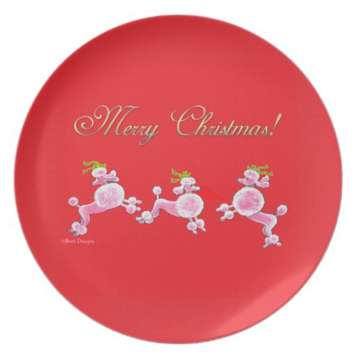 Pink Poodle Merry Christmas Plate