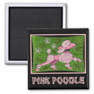 PINK POODLE PARADE - playful poodle magnet