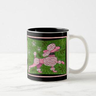 PINK POODLE PARADE - playful poodle mug