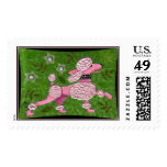 PINK POODLE PARADE - playful poodle postage stamp