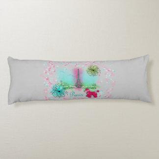 Pink Poodle Paris Eiffel Tower Body Pillow