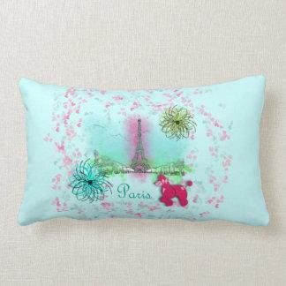Pink Poodle Paris Eiffel Tower Lumbar Pillow
