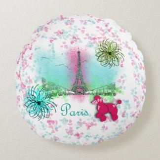 Pink Poodle Paris Eiffel Tower Round Pillow