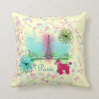 Pink Poodle Paris Eiffel Tower Throw Pillow