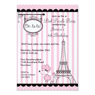 Pink Poodle Party Card