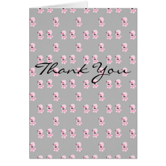 Pink Poodle Pattern Thank You Card