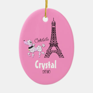 PINK POODLE Personalized Christmas Ornament
