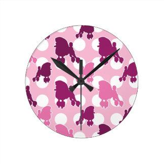 Pink Poodle Polka Dot Round Wallclocks