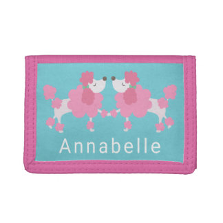 Pink Poodle Retro Trifold Wallet