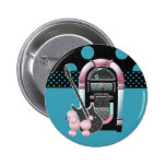 Pink Poodle Rock and Roll 2 Inch Round Button