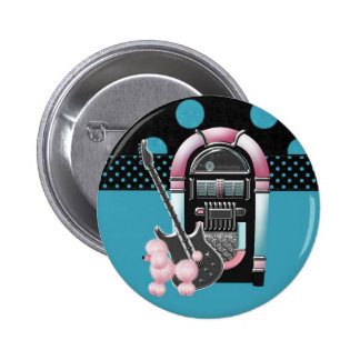 Pink Poodle Rock and Roll Pinback Button