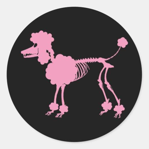 Pink Poodle Skeleton Stickers