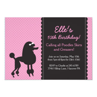 Pink Poodle Skirt, 1950's theme party invitation