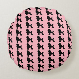 Pink Poodle Skirt Inspired Round Pillow