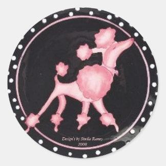 Pink Poodle Sticker's Classic Round Sticker