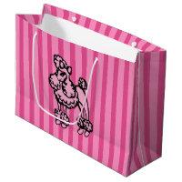Pink Poodle Stripe Gift Bag Large Gift Bag