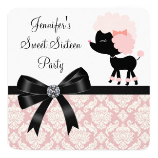 Pink Poodle Sweet 16 Birthday Party Card