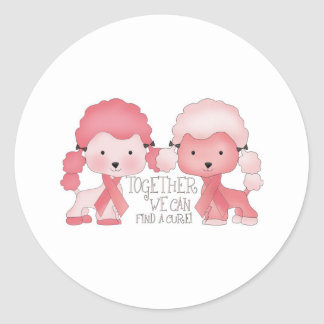 Pink  Poodle-Together we can find a cure Classic Round Sticker
