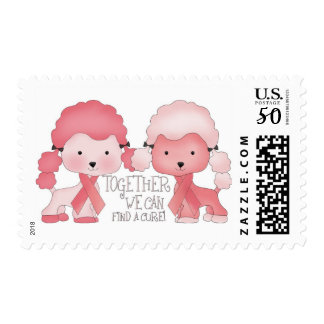 Pink  Poodle-Together we can find a cure Postage