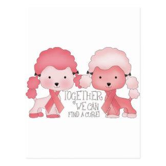 Pink  Poodle-Together we can find a cure Postcard