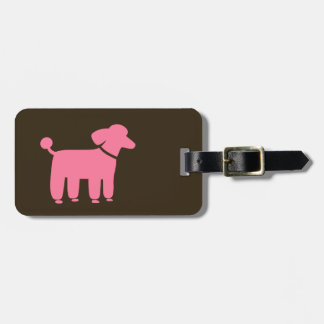 Pink Poodle with Customizable Text Bag Tag