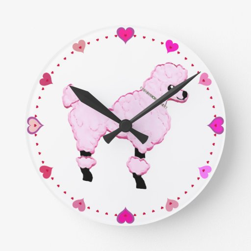 Pink Poodle with Jeweled Collar Cartoon Art Round Clocks
