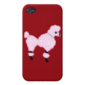 Pink Poodle with Jeweled Collar iPhone 4 Case