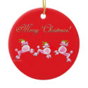 Pink Poodles Dancing Christmas Tree Ornament ornament