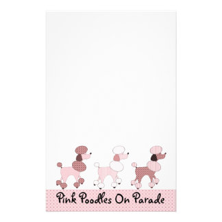 Pink Poodles On Parade Stationery