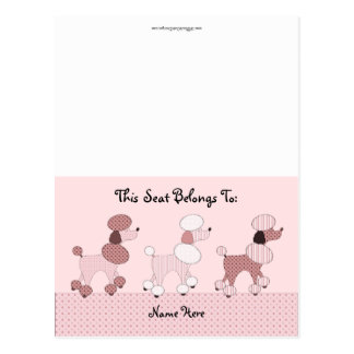 Pink Poodles On Parade Table Tent Postcard