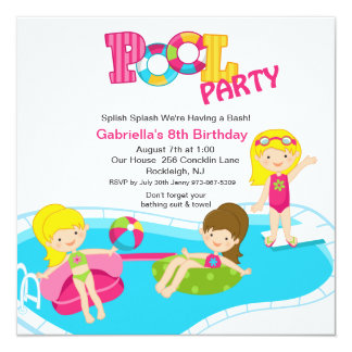Pink Pool Party All Girls  Birthday Invitation