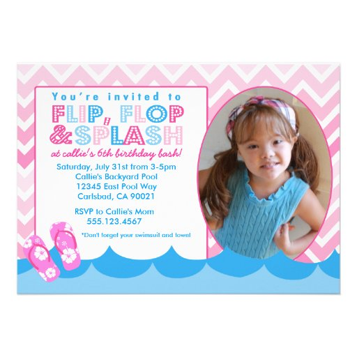 Pink Pool Swim Party Birthday invitation Swimming