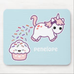"Pink Pooping Unicorn Mouse Pad<br><div class=""desc"">Super cute pink unicorn pooping out rainbow sprinkles on a happy pink cupcake. Personalize with your name.</div>"