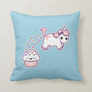 Pink Pooping Unicorn Throw Pillow